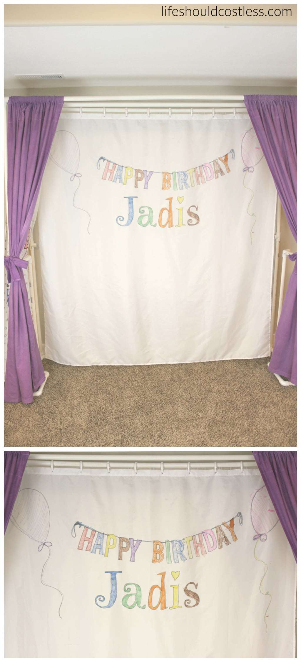 """Multi-Use PVC Theater with washable and glow-in-the-dark backdrop options. The """"thneed"""" of PVC theaters! It is so veratile that you can do almost anything. Best PVC project for kids. Used as a washable Birthday banner."""