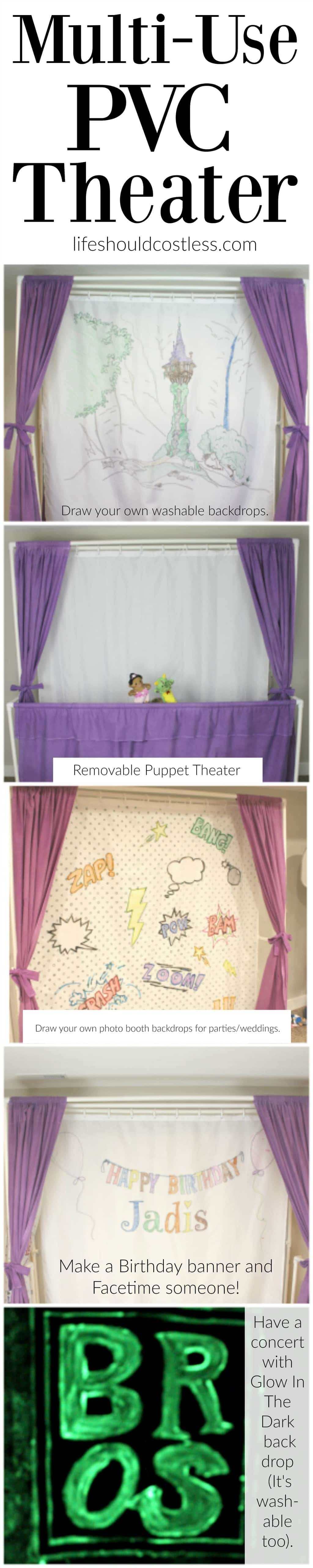 "Multi-Use PVC Theater with washable and glow-in-the-dark backdrop options. The ""thneed"" of PVC theaters! It is so veratile that you can do almost anything. Best PVC project for kids."