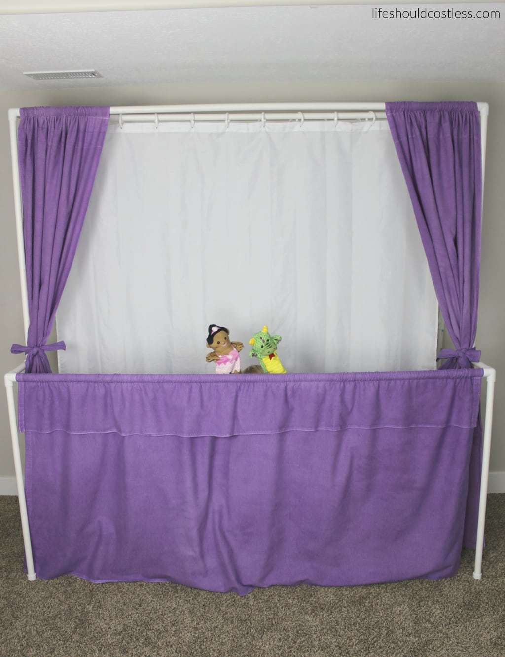 "Multi-Use PVC Theater with washable and glow-in-the-dark backdrop options. The ""thneed"" of PVC theaters! It is so veratile that you can do almost anything. Best PVC project for kids. Puppet show option."