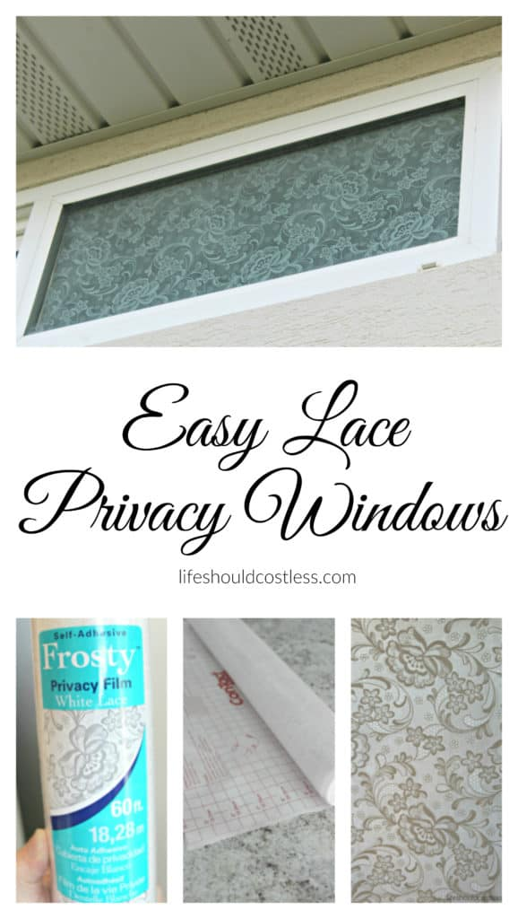 Easy Lace Privacy Windows. Just a few minutes of work and you'll have privacy that still lets in lots of natural light. {lifeshouldcostless.com}