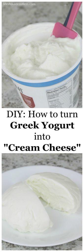 "DIY How to turn greek yogurt into ""cream cheese""."