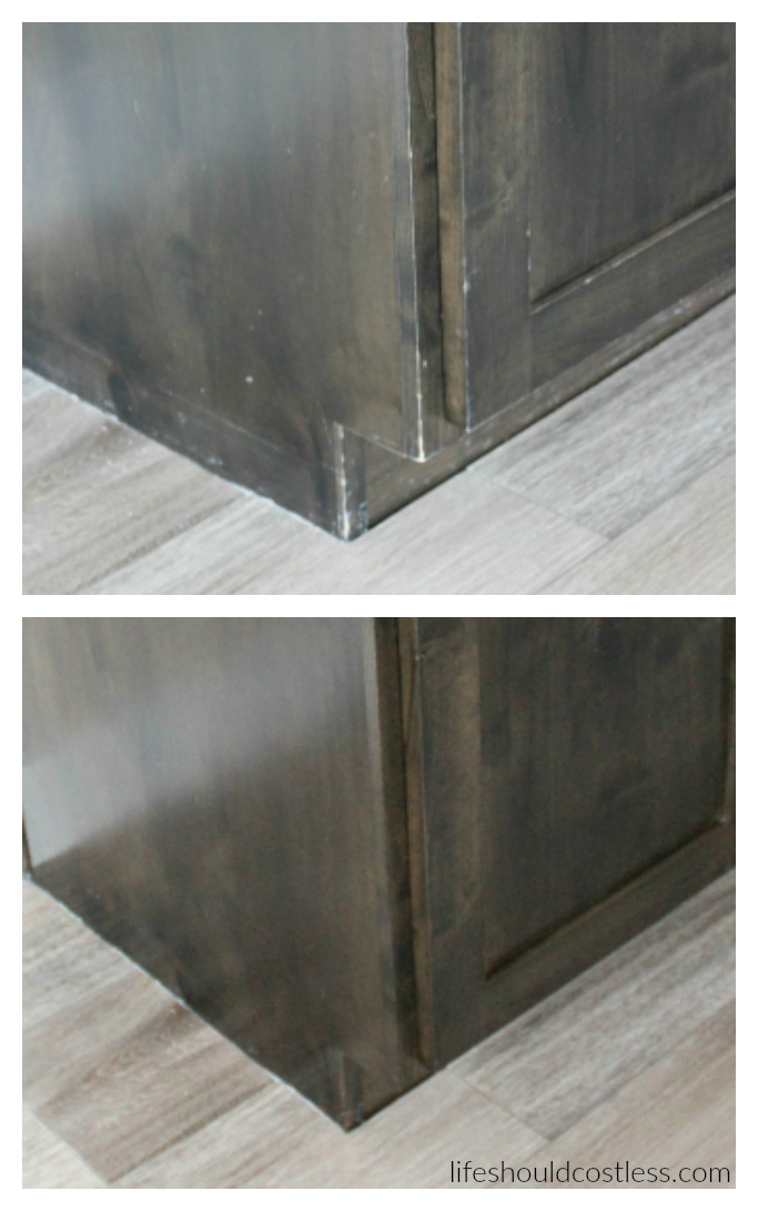 How to refresh dark wood in minutes. No sanding or markers needed. {lifeshouldcostless.com}