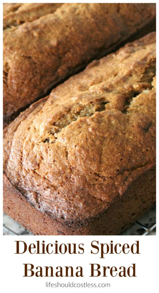 Delicious Spiced Banana Bread. It's got just the right amount of cinnamon and nutmeg! Best Banana bread recipe ever!