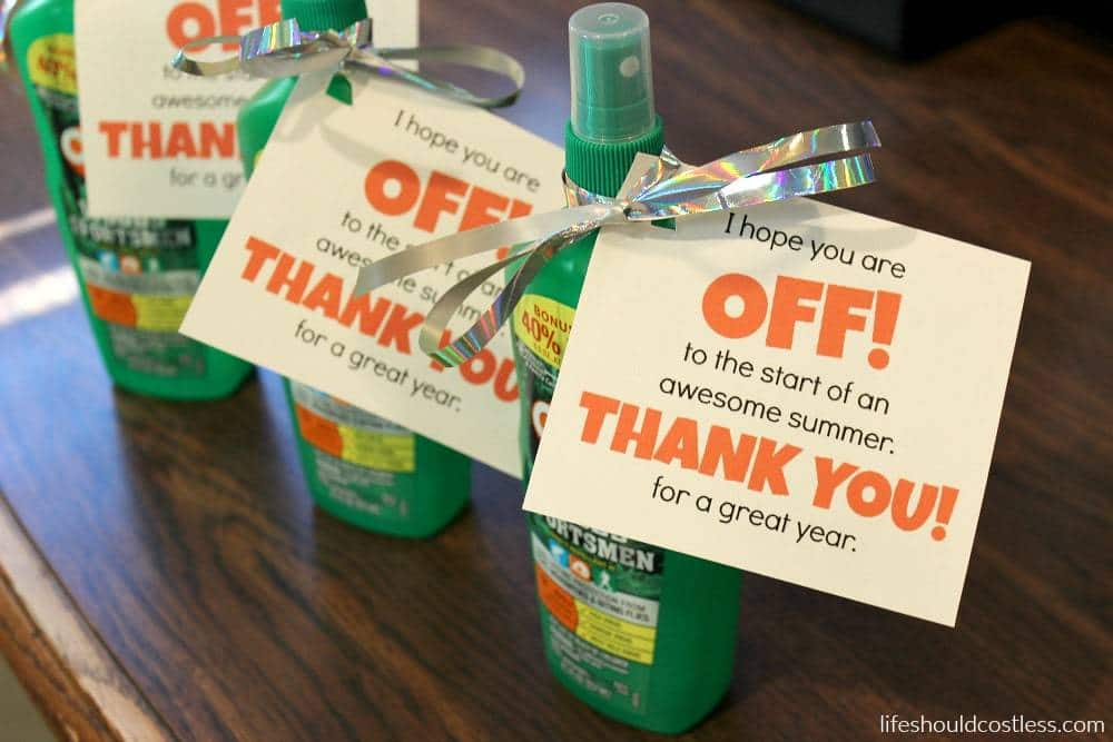 End of year teacher gift idea. Off insect repellent/bug spray.