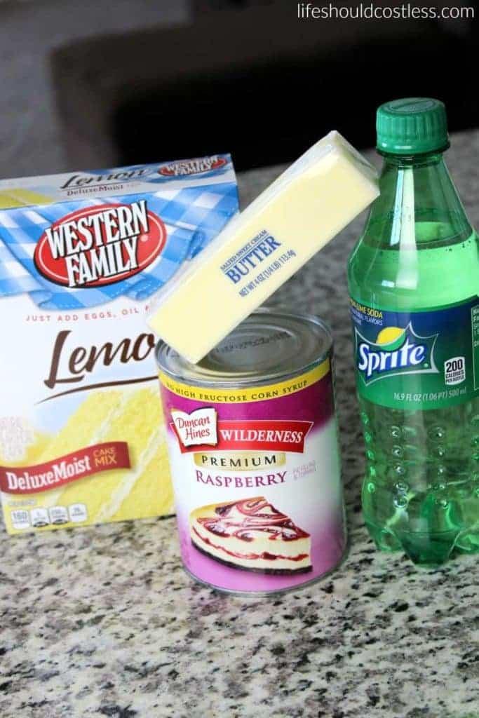 Slow Cooker Raspberry Lemon Dump Cobbler/Cake Ingredients