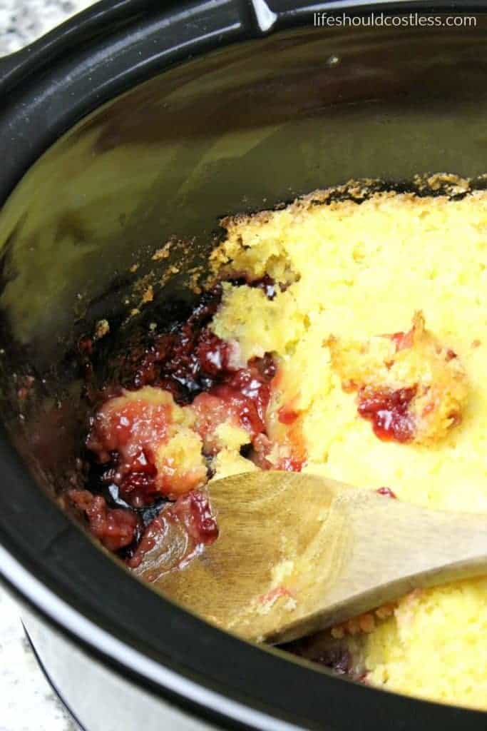 Slow Cooker Raspberry Lemon Dump Cobbler/Cake