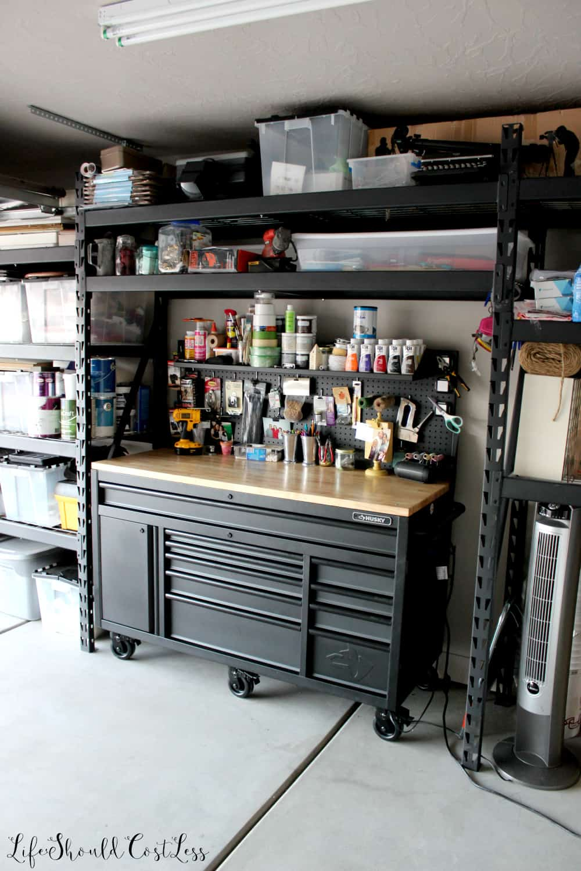 Garage Organization Reveal Husky Work Bench With Shelf And ...