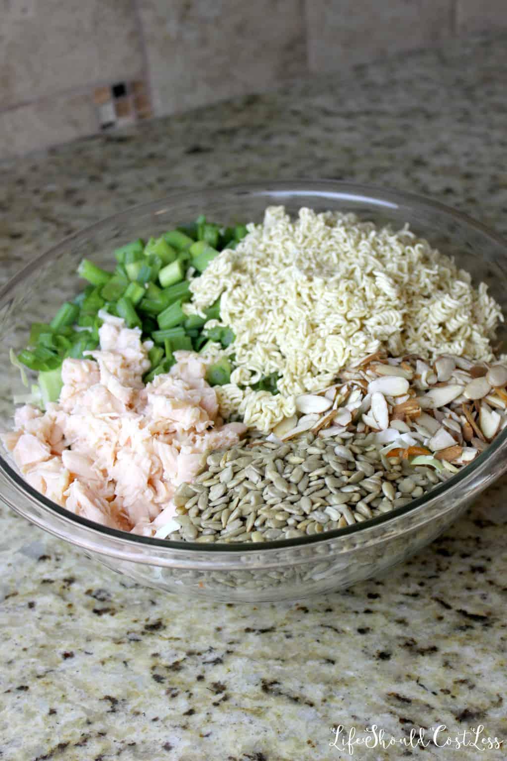 What is in an oriental coleslaw ramen chicken salad?