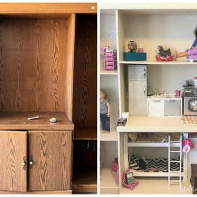e0d3296946c How To Turn An Old Entertainment Center Into An American Girl (18 inch)  Dollhouse