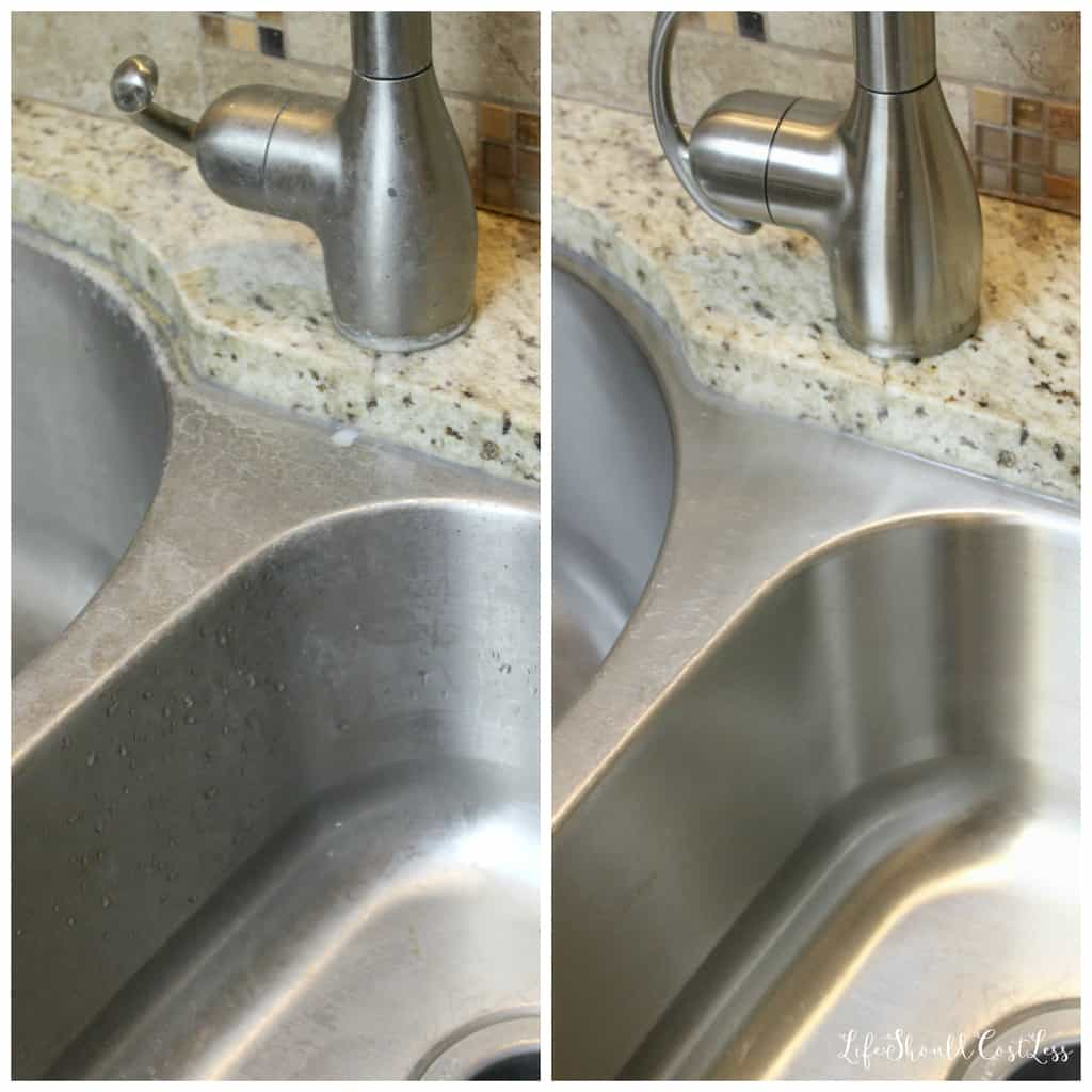 How To Clean A Stainless Steel Sink Like A Pro, Before And After Together.  {lifeshouldcostless.com}