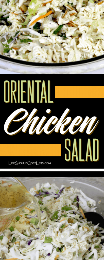 Oriental Chicken Salad, the best recipe with ramen noodles and cole slaw. lifeshouldcostless.com
