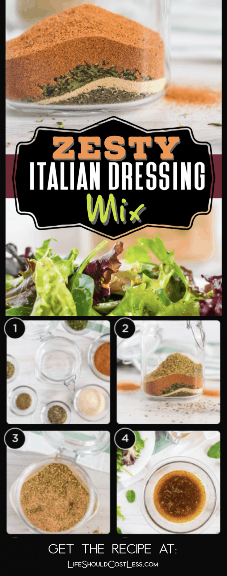 Using dry Zesty Italian Dressing Mix is a great way to spice up your various food dishes or can be used as a dry rub for meat. Or, easily mix it into a tangy dressing. Learn how to make the BEST Zesty Italian Dressing Mix with this simple bulk recipe. Plus it has directions to make the dressing as well.