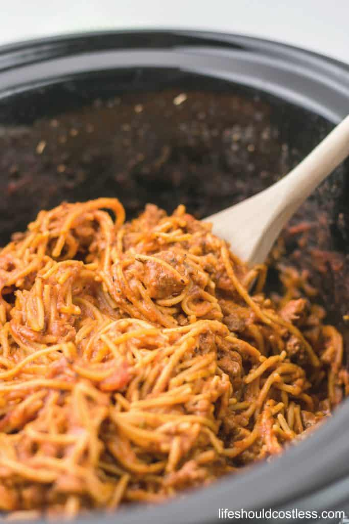 The best Crock Pot/Slow Cooker Spaghetti. It takes five minutes of prep and is ready to eat in as little as two hours. lifeshouldcostless.com
