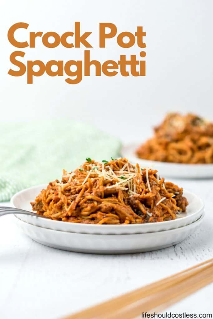 Easy Crock Pot Spaghetti with jar sauce. lifeshouldcostless.com