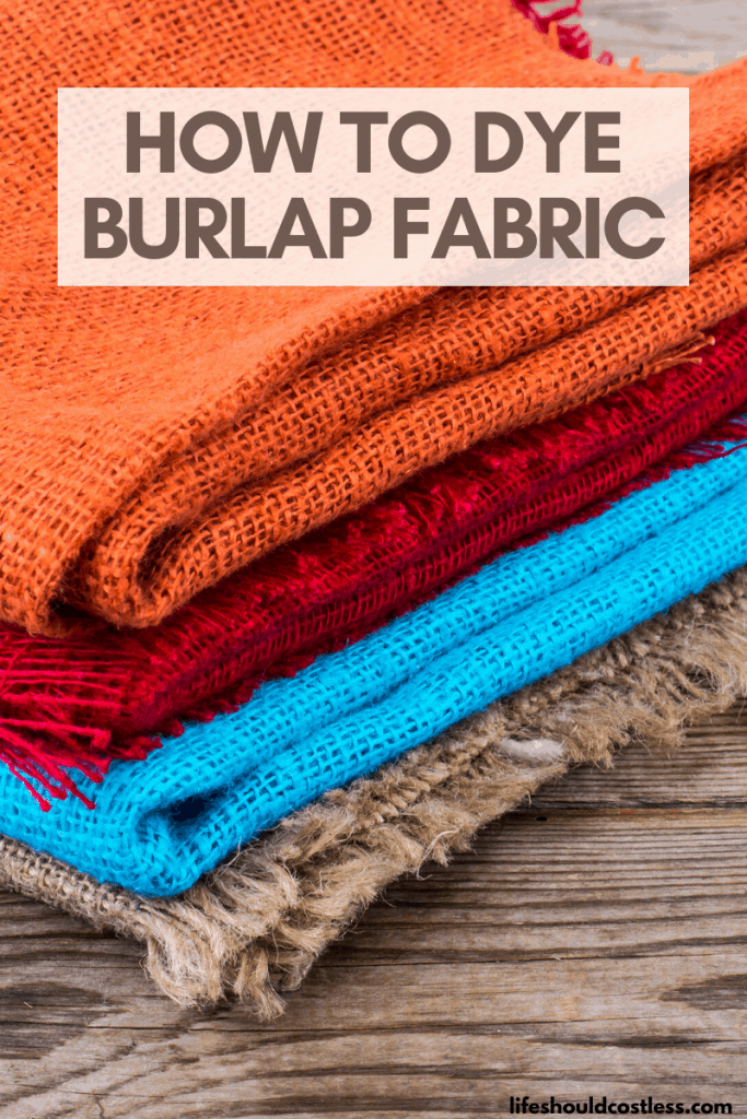How to color burlap/jute fabric/material. lifeshouldcostless.com