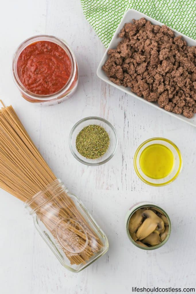 The ingredients for slow cooker/crock pot spaghetti. lifeshouldcostless.com