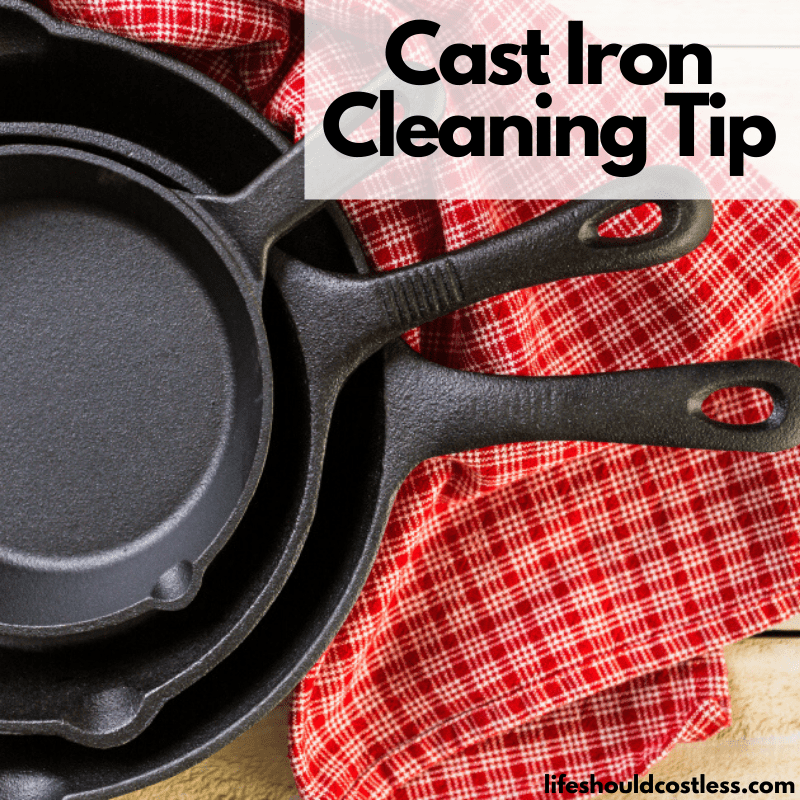 What cleans cast iron best? Find out how with the best cleaning tutorial to remove stuck on food from cast iron. lifeshouldcostless.com