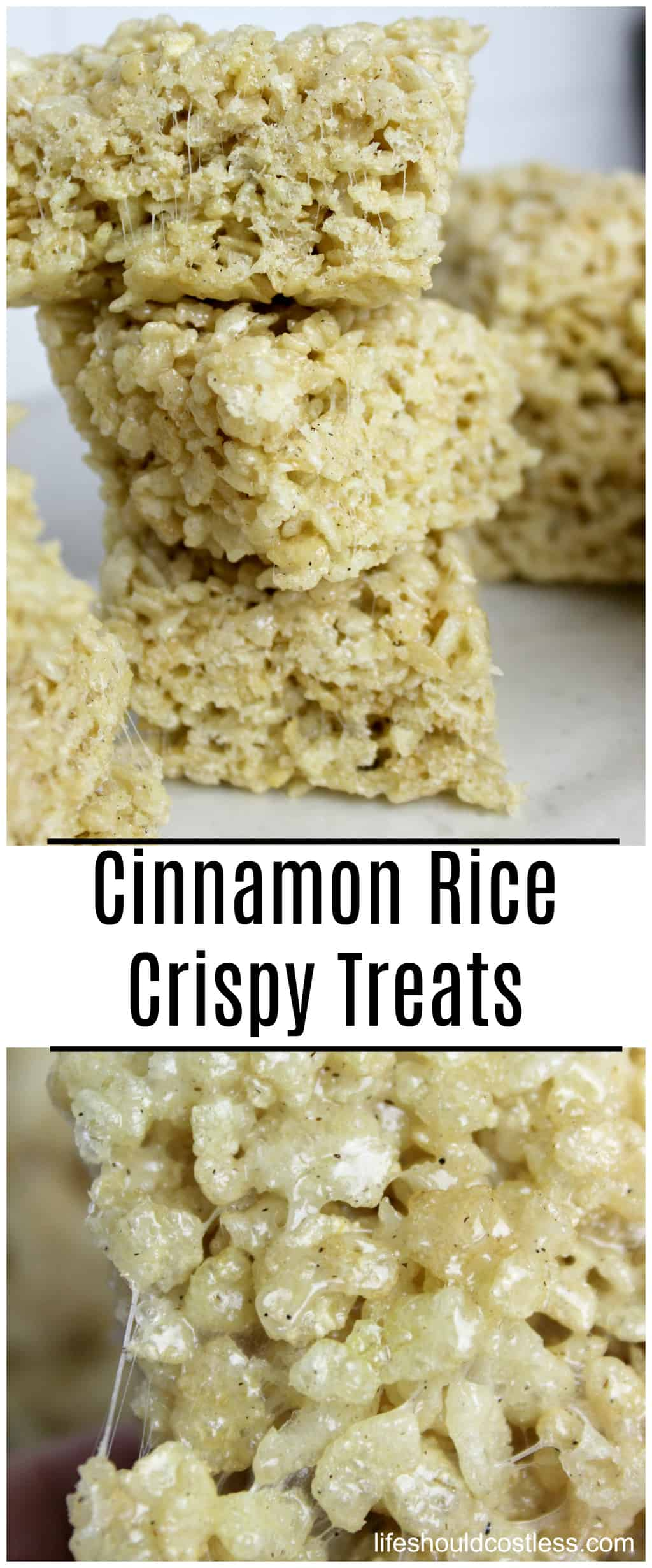 Cinnamon Rice Crispy Treats Recipe. The best version of rice crispy treats that I have ever tried.  lifeshouldcostless.com