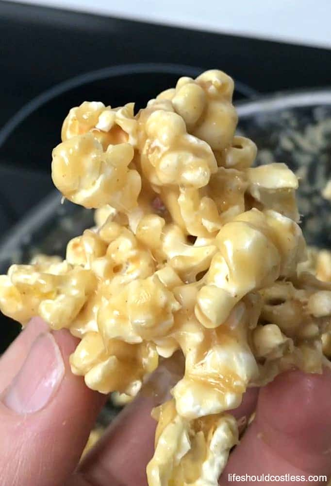 Browned Butter Caramel Popcorn, with instructions on how to make popcorn balls. It's a new twist on an old favorite at lifeshouldcostless.com
