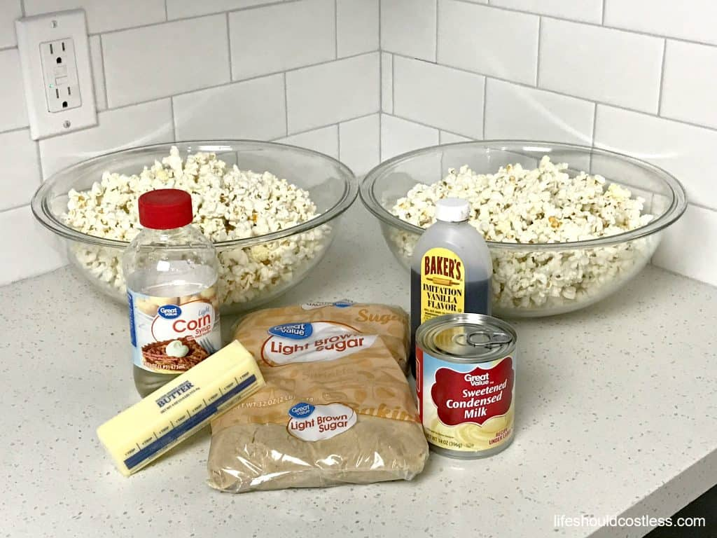 Pictured are the ingredients for Browned Butter Caramel Popcorn, with instructions on how to make popcorn balls. It's a new twist on an old favorite at lifeshouldcostless.com