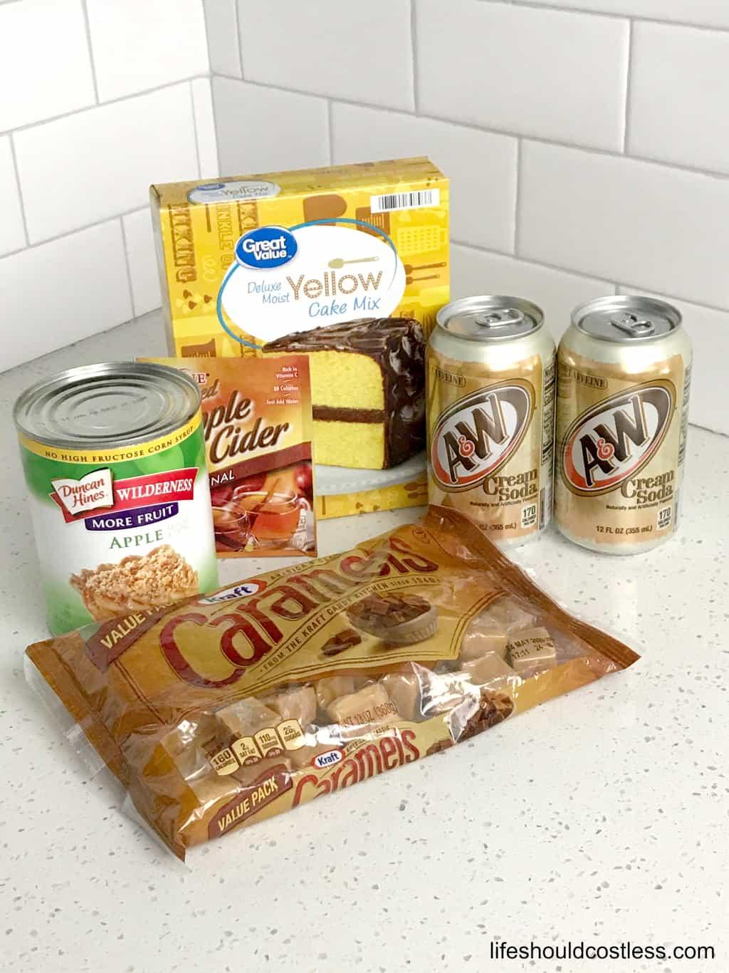 Ingredients for slow cooker caramel apple dump cobbler