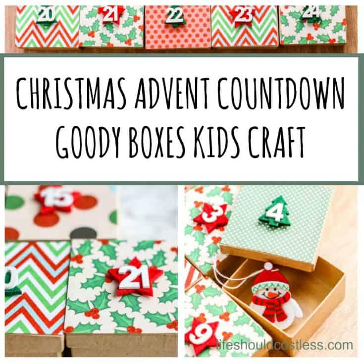 Christmas Advent Countdown Calendar Goody Boxes Craft For Kids. lifeshouldcostless.com