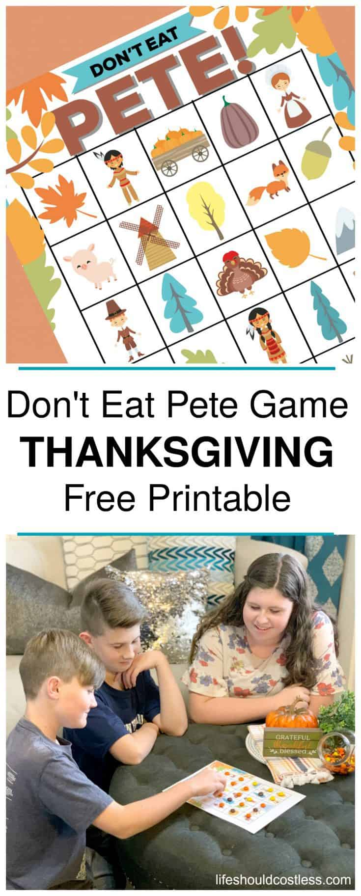 Instructions: How To Play Don't Eat Pete Game with free printable Thanksgiving version. lifeshouldcostless.com
