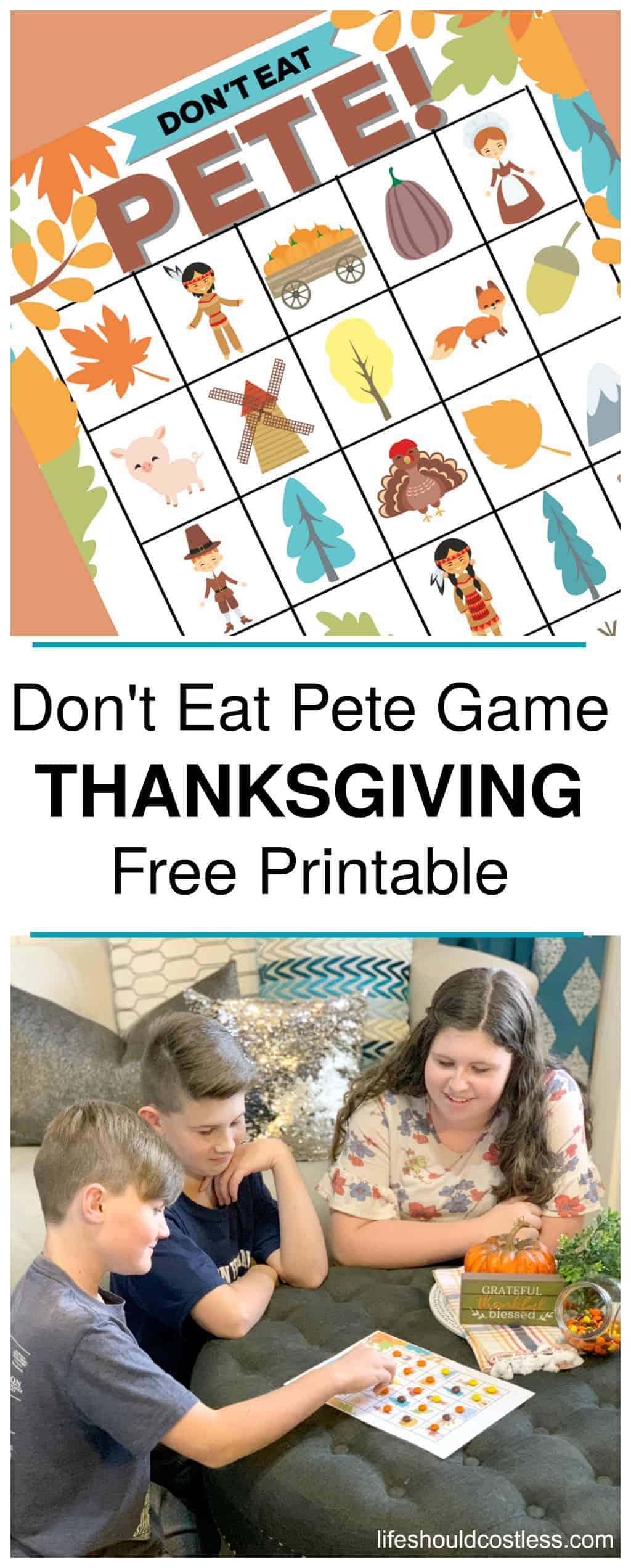 Don't Eat Pete Free Printable Kids Game, Thanksgiving Version