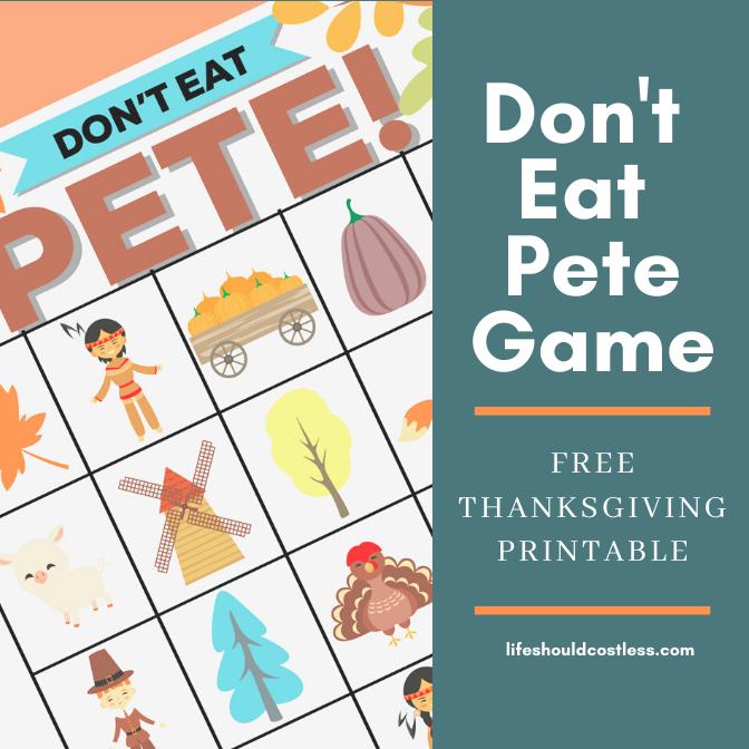Don't Eat Pete Free Printable Kids Game, Thanksgiving Version