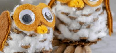 Pinecone Owls Winter Kids Craft lifeshouldcostless.com