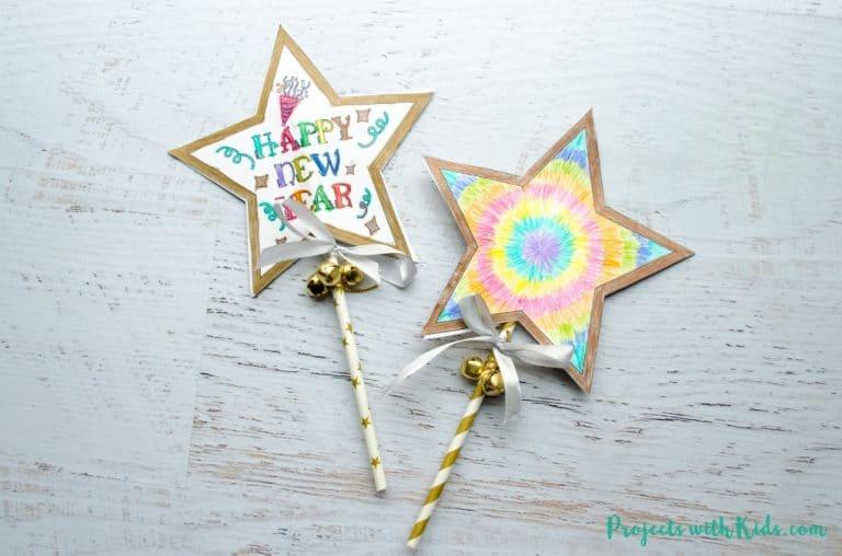 New Years Star Wands Kids Craft Idea