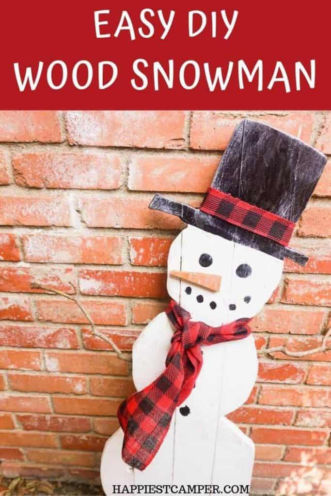 Easy-DIY-Wood-Snowman Exterior Christmas or Winter Decor
