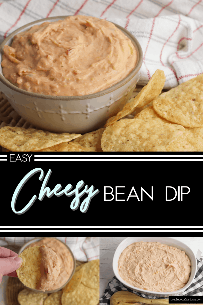 Easy Cheesy Bean Dip. Perfect for game-day or any other gathering. lifeshouldcostless.com