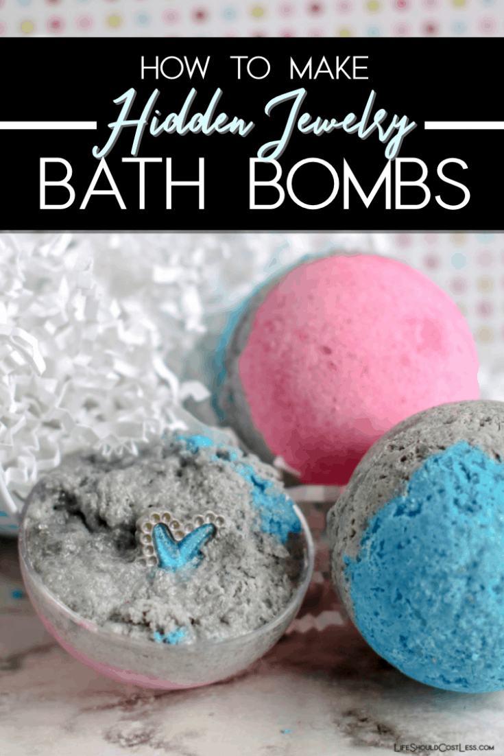 DIY: How to make bath bombs with hidden jewelry or prizes inside. A super fun activity for a girls night, kids craft, or even a fun personalized gift. lifeshouldcostless.com