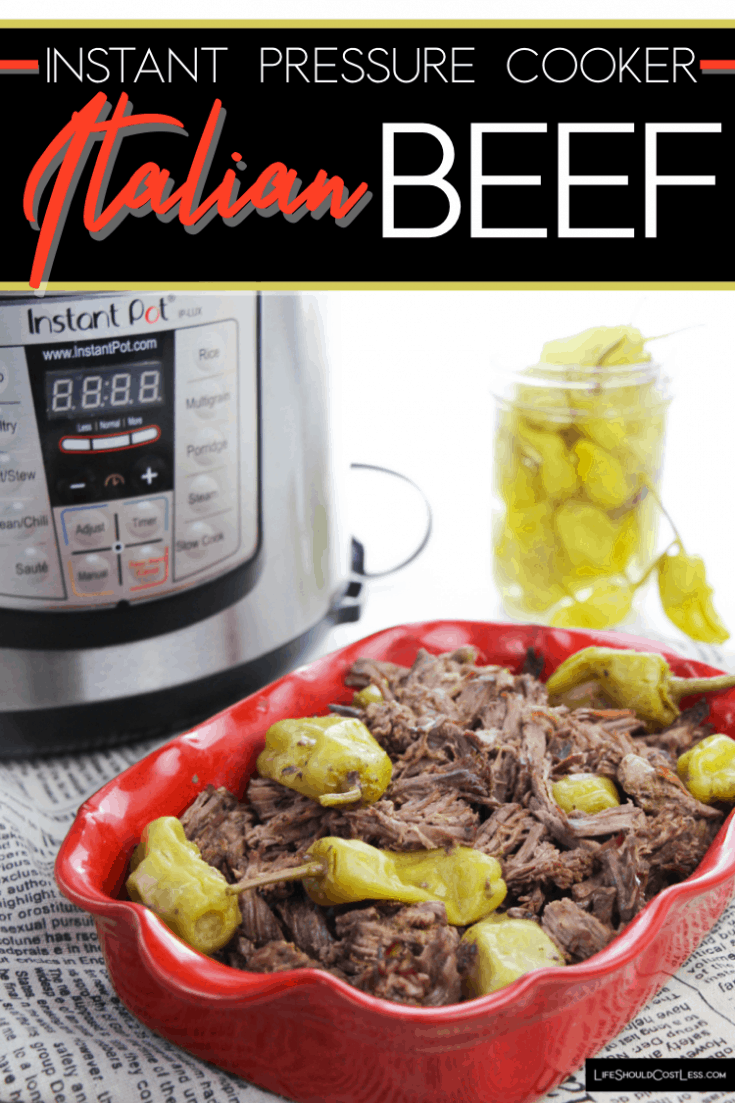 Italian Beef made in an Instant Pot pressure cooker is a delicious way to make roast beef to chip for sandwiches, or serve it with potatoes and gravy.