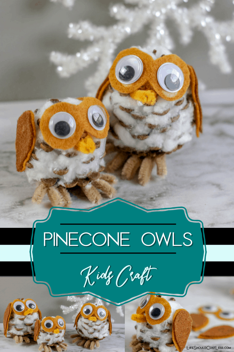 Pinecone Owls Kids Craft lifeshouldcostless.com