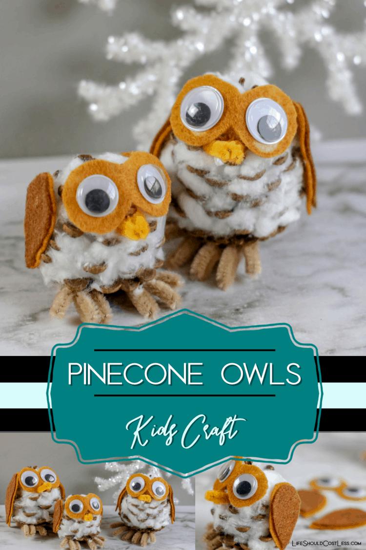 Pinecone Owls Kids Craft lifeshouldcostless.com