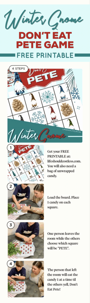 Winter Gnomes Don't Eat Pete Free Printable Kids Game lifeshouldcostless.com