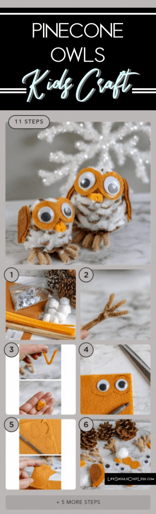 Pinecone Owl Kids Craft lifeshouldcostless.com