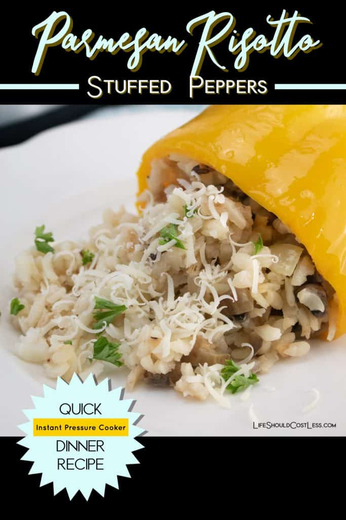 Instant Pot Parmesan Risotto Stuffed Peppers Recipe found at lifeshouldcostless.com