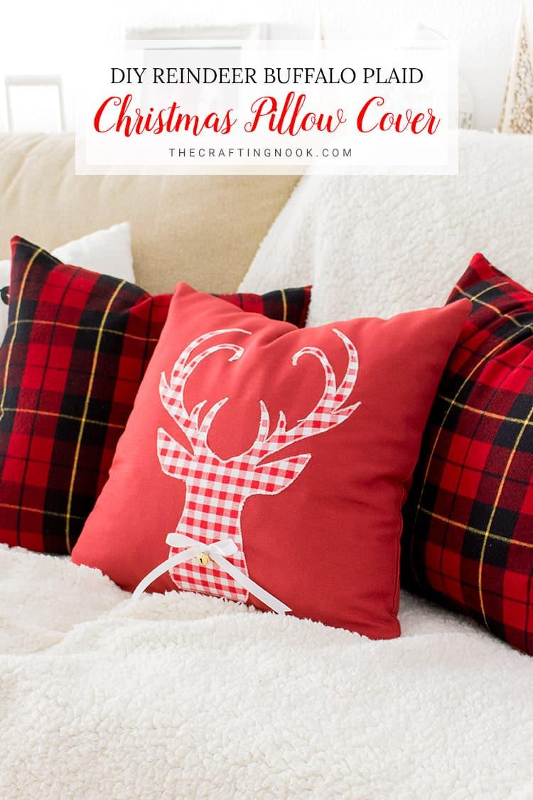 DIY deer buffalo plaid Christmas pillow