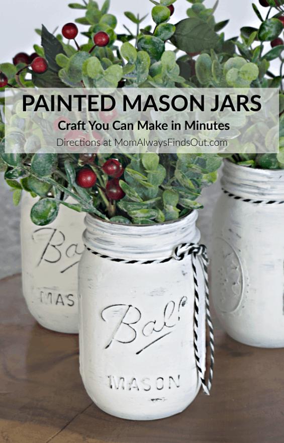 Farmhouse Decor DIY Painted Mason Jars