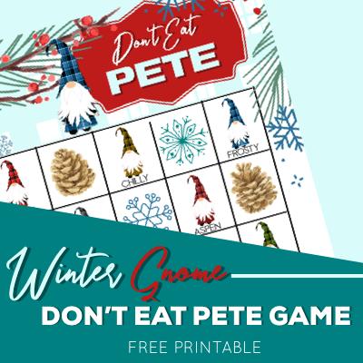 Winter Gnomes Don't Eat Pete Free Printable Kids Game lifeshouldcostless.com