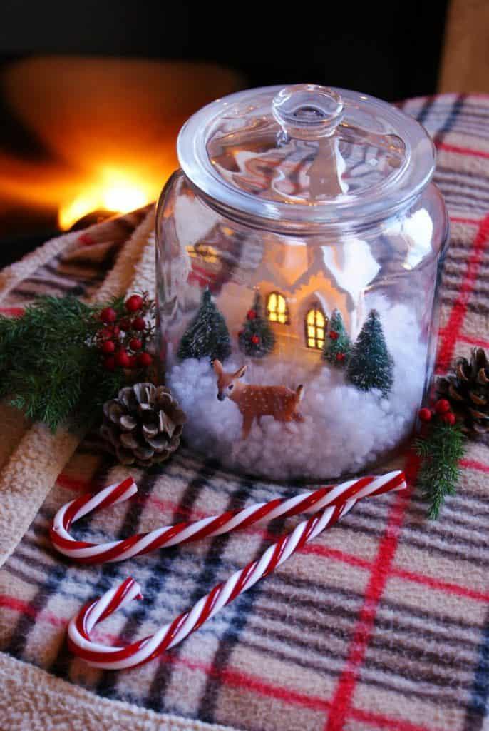 DIY Christmas Scenery Jar Farmhouse Winter Decor
