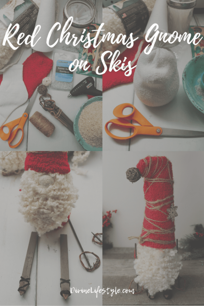 DIY red christmas gnome on skis png