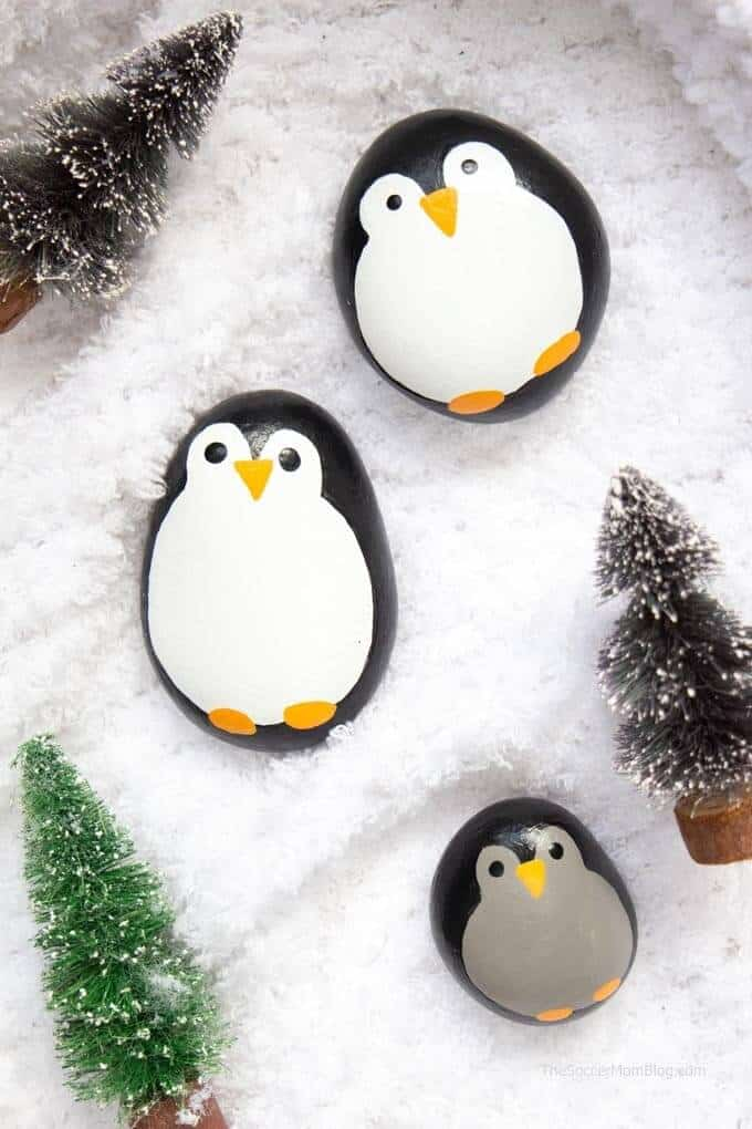 Penguin-Painted-Rocks winter crafts for preschooler winter art projects