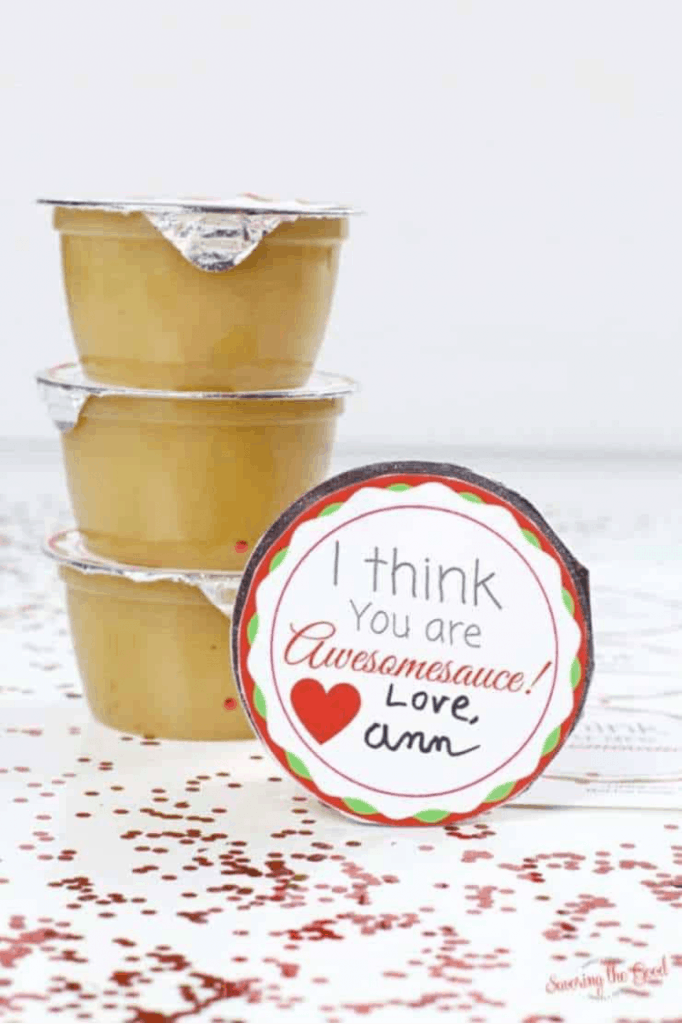 Apple Sauce Cup Printable Valentine For Kids lifeshouldcostless.com