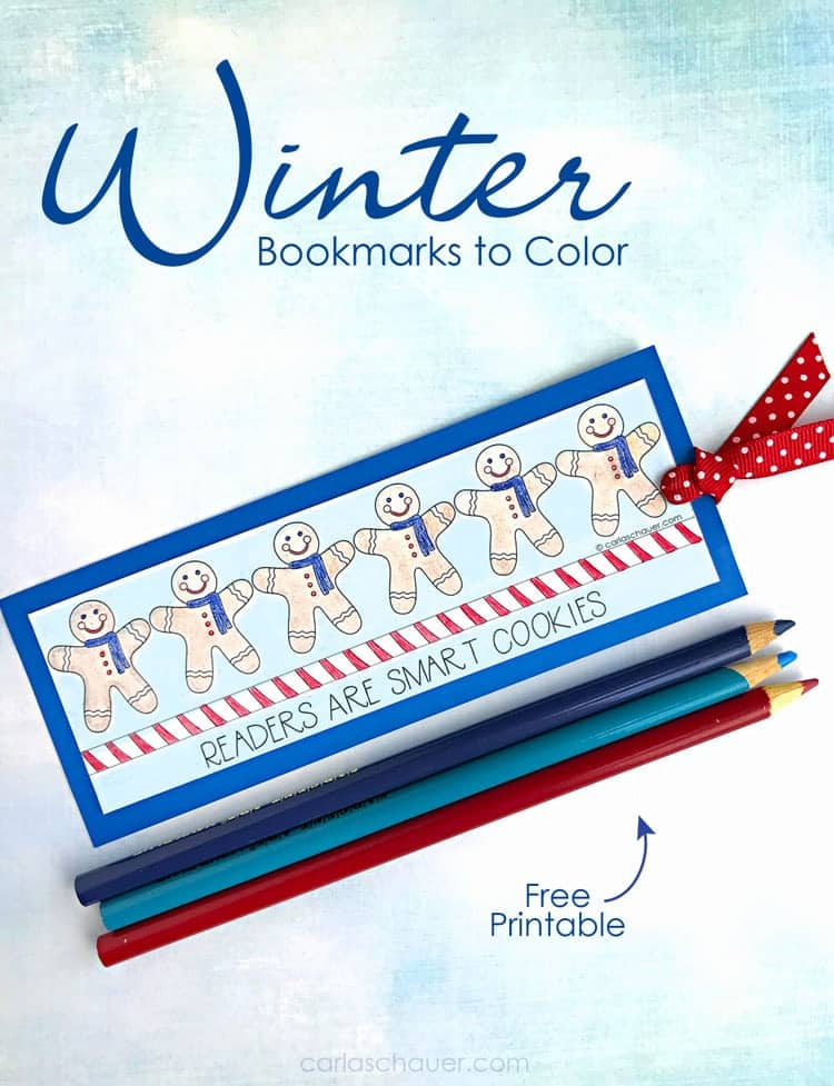 Fun winter art projects, free printable winter bookmark craft. l