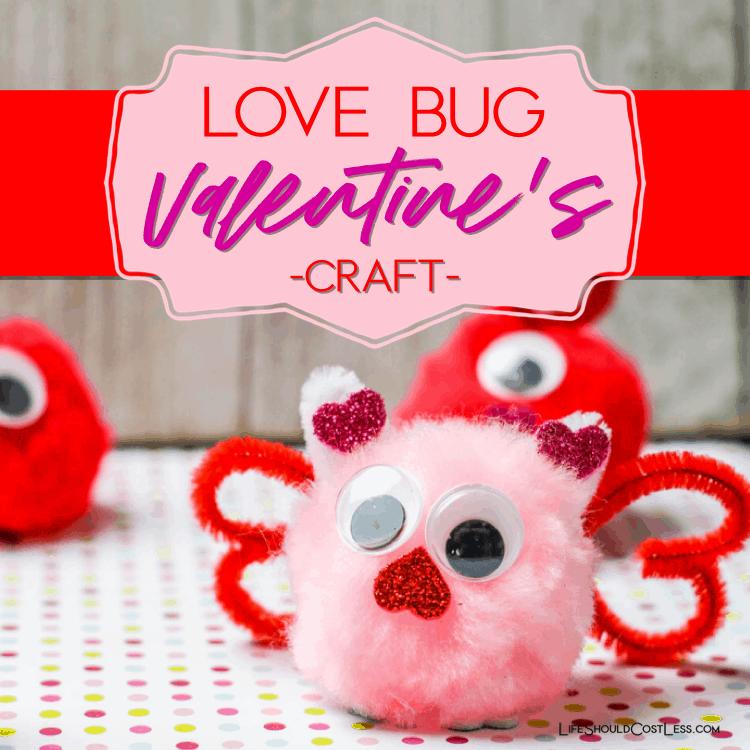 Love bug craft for kids, valentines day craft idea. lifeshouldcostless.com