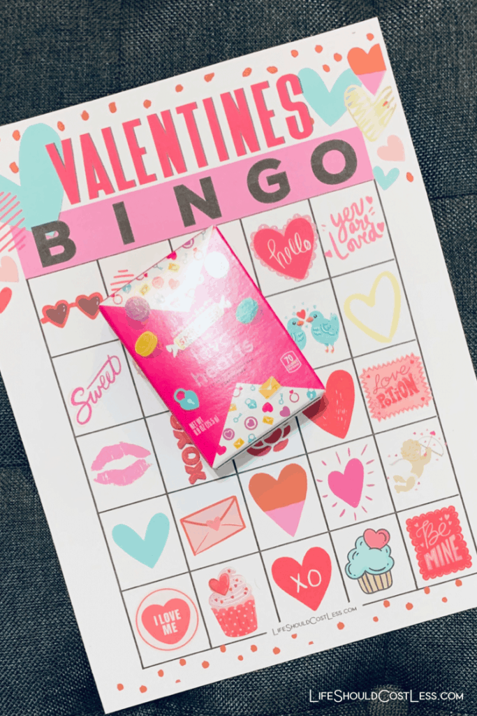 Valentines Bingo Game With Conversation Hearts Free Printable lifeshouldcostless.com